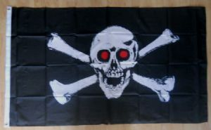 Pirate Jolly Roger Red Eyes Large Flag - 5' x 3'.